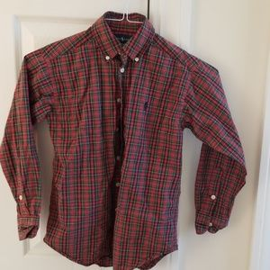 Ralph Lauren red and green plaid  buttoned size 8